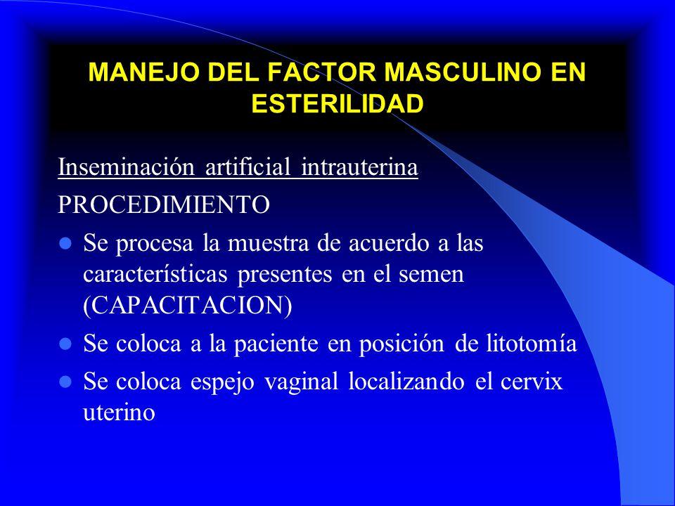 MANEJO DEL FACTOR MASCULINO EN ESTERILIDAD Inseminación artificial intrauterina PROCEDIMIENTO Se procesa la muestra de acuerdo a las características p