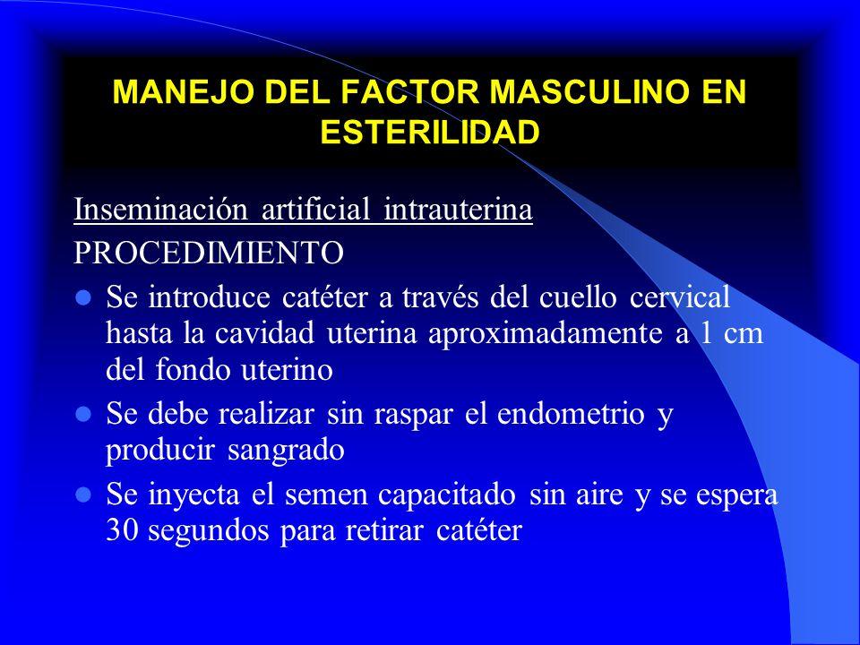 MANEJO DEL FACTOR MASCULINO EN ESTERILIDAD Inseminación artificial intrauterina PROCEDIMIENTO Se introduce catéter a través del cuello cervical hasta