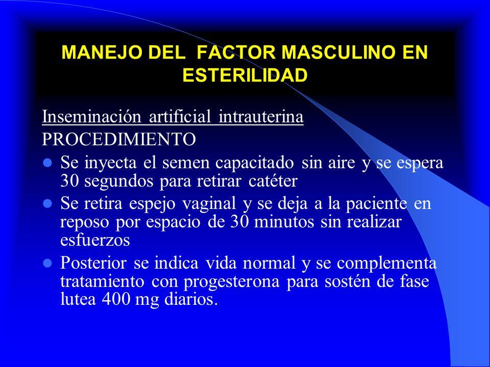 MANEJO DEL FACTOR MASCULINO EN ESTERILIDAD Inseminación artificial intrauterina PROCEDIMIENTO Se inyecta el semen capacitado sin aire y se espera 30 s