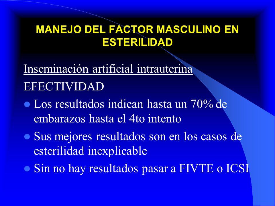 MANEJO DEL FACTOR MASCULINO EN ESTERILIDAD Inseminación artificial intrauterina EFECTIVIDAD Los resultados indican hasta un 70% de embarazos hasta el