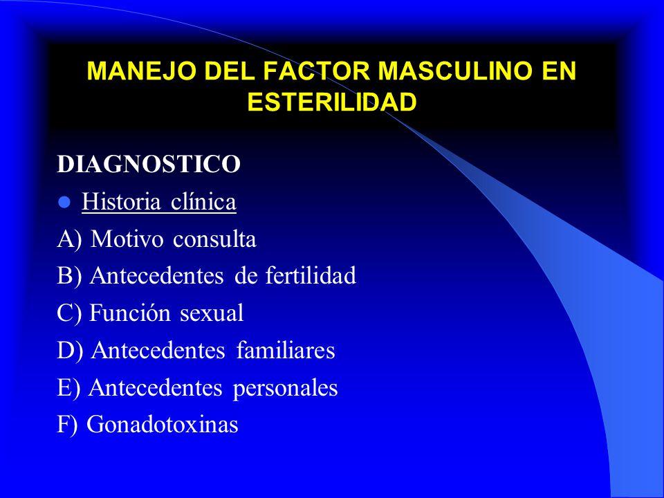 MANEJO DEL FACTOR MASCULINO EN ESTERILIDAD DIAGNOSTICO Exploración andrológica A) Pene B) Testículos C) Epidídimo D) Conductos deferentes E) Próstata Espermatobioscopias A) Directa o Indirecta B) Espercultivos