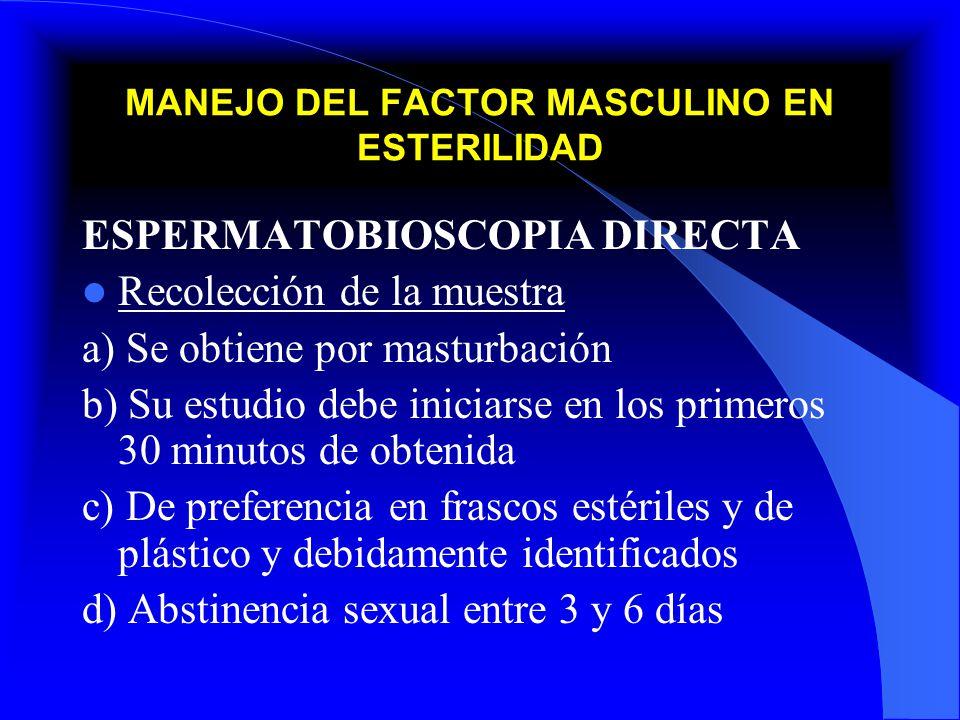 MANEJO DEL FACTOR MASCULINO EN ESTERILIDAD ESPERMATOBIOSCOPIA DIRECTA Recolección de la muestra a) Se obtiene por masturbación b) Su estudio debe inic