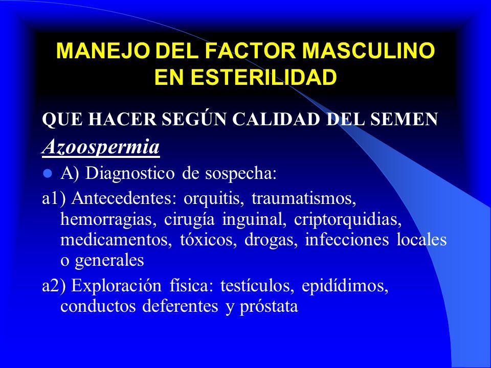 MANEJO DEL FACTOR MASCULINO EN ESTERILIDAD QUE HACER SEGÚN CALIDAD DEL SEMEN Azoospermia A) Diagnostico de sospecha: a3) Niveles de FSH: 1) baja (No obstructivo, hipogonadismo hipogonatropico) 2) normal (Obstructivos, Sx células sertoli) 3) elevada (problemas a nivel testicular) a4) Espermiograma a5) USG prostático