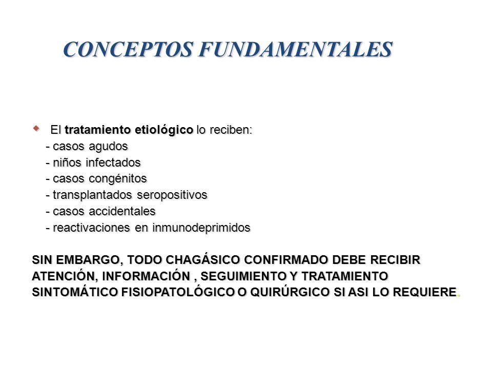 CONCEPTOS FUNDAMENTALES El tratamiento etiológico lo reciben: El tratamiento etiológico lo reciben: - casos agudos - casos agudos - niños infectados - niños infectados - casos congénitos - casos congénitos - transplantados seropositivos - transplantados seropositivos - casos accidentales - casos accidentales - reactivaciones en inmunodeprimidos - reactivaciones en inmunodeprimidos SIN EMBARGO, TODO CHAGÁSICO CONFIRMADO DEBE RECIBIR ATENCIÓN, INFORMACIÓN, SEGUIMIENTO Y TRATAMIENTO SINTOMÁTICO FISIOPATOLÓGICO O QUIRÚRGICO SI ASI LO REQUIERE.