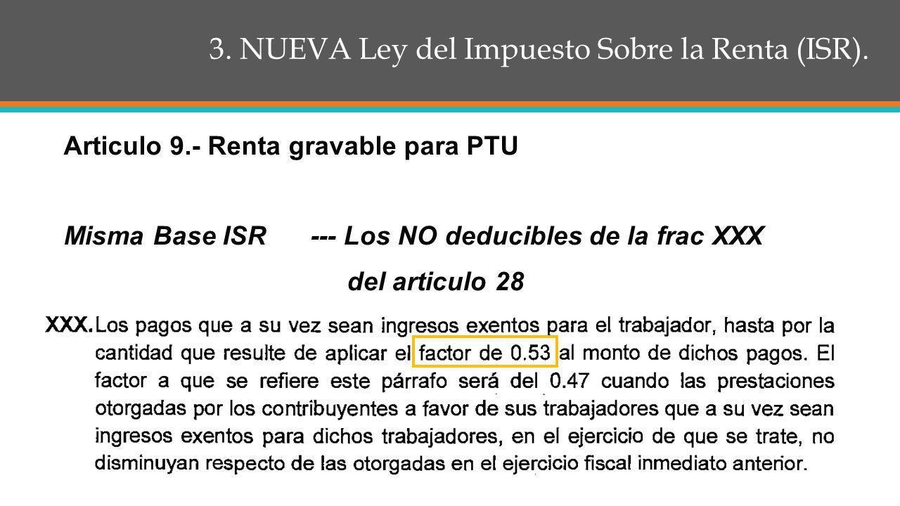 3.NUEVA Ley del Impuesto Sobre la Renta (ISR). Articulo 27 Frac.