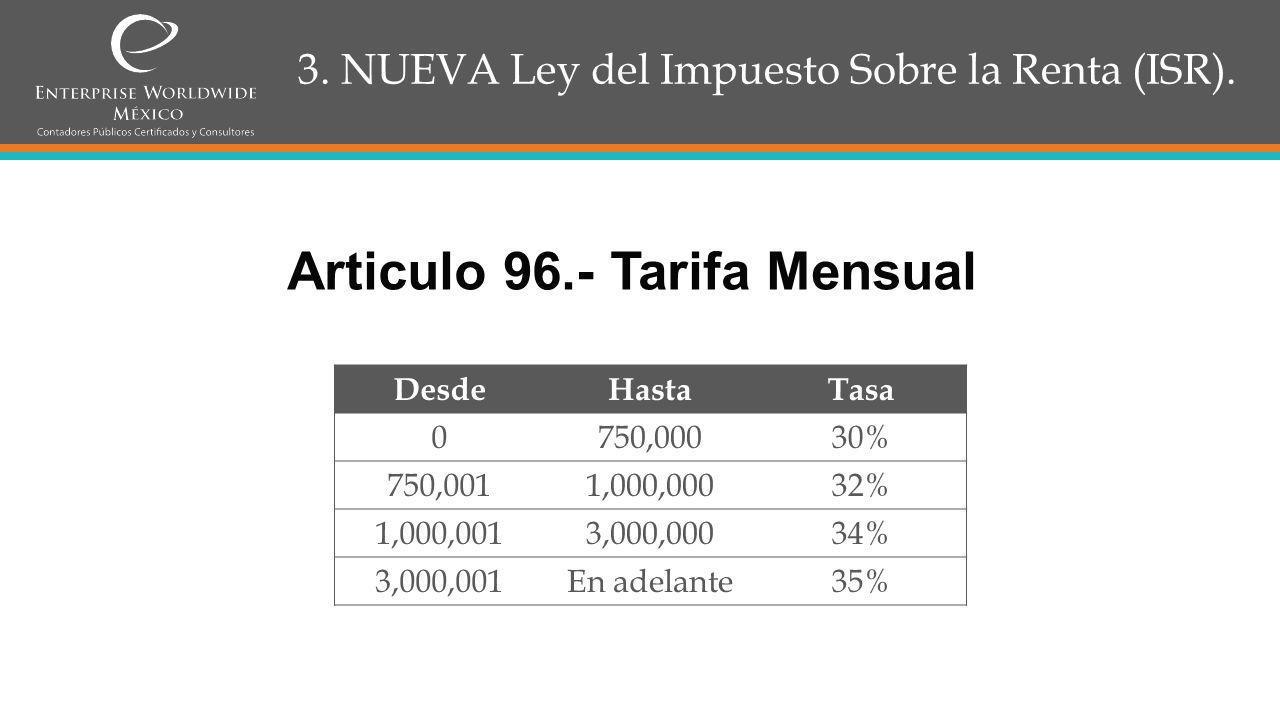 3.NUEVA Ley del Impuesto Sobre la Renta (ISR).
