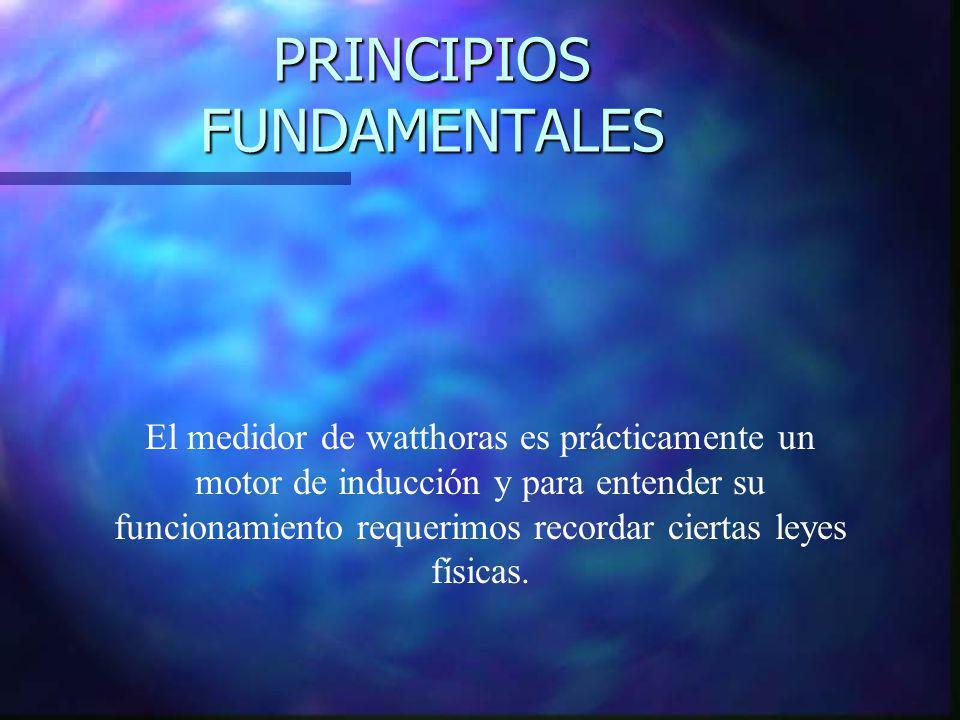 PRINCIPIOS FUNDAMENTALES El medidor de watthoras es prácticamente un motor de inducción y para entender su funcionamiento requerimos recordar ciertas