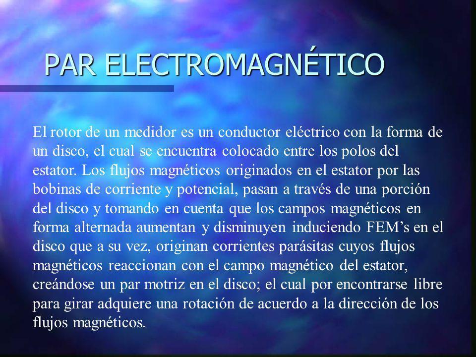 PAR ELECTROMAGNÉTICO El rotor de un medidor es un conductor eléctrico con la forma de un disco, el cual se encuentra colocado entre los polos del esta