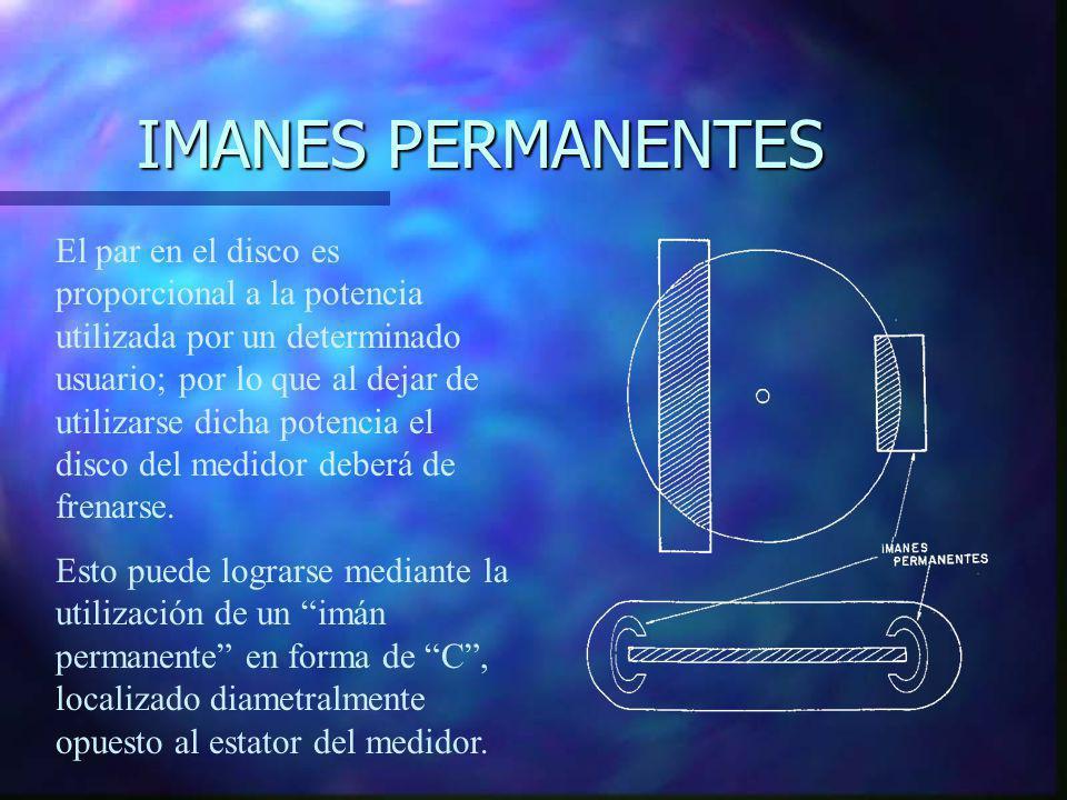 IMANES PERMANENTES El par en el disco es proporcional a la potencia utilizada por un determinado usuario; por lo que al dejar de utilizarse dicha pote