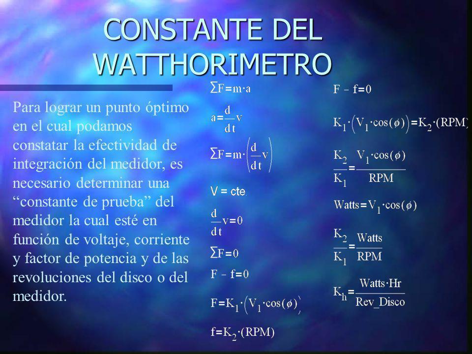 CONSTANTE DEL WATTHORIMETRO Para lograr un punto óptimo en el cual podamos constatar la efectividad de integración del medidor, es necesario determina