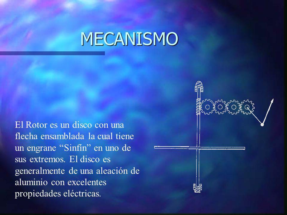 MECANISMO El Rotor es un disco con una flecha ensamblada la cual tiene un engrane Sinfín en uno de sus extremos. El disco es generalmente de una aleac