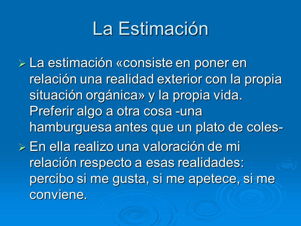 La Estimación La estimación «consiste en poner en relación una realidad exterior con la propia situación orgánica» y la propia vida. Preferir algo a o