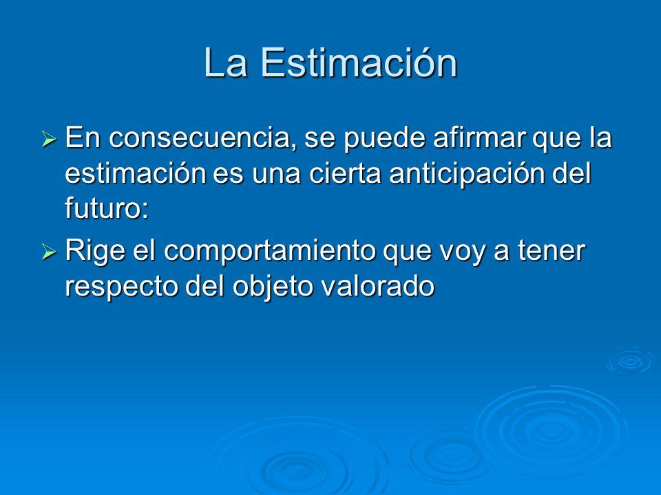 La Estimación En consecuencia, se puede afirmar que la estimación es una cierta anticipación del futuro: En consecuencia, se puede afirmar que la esti