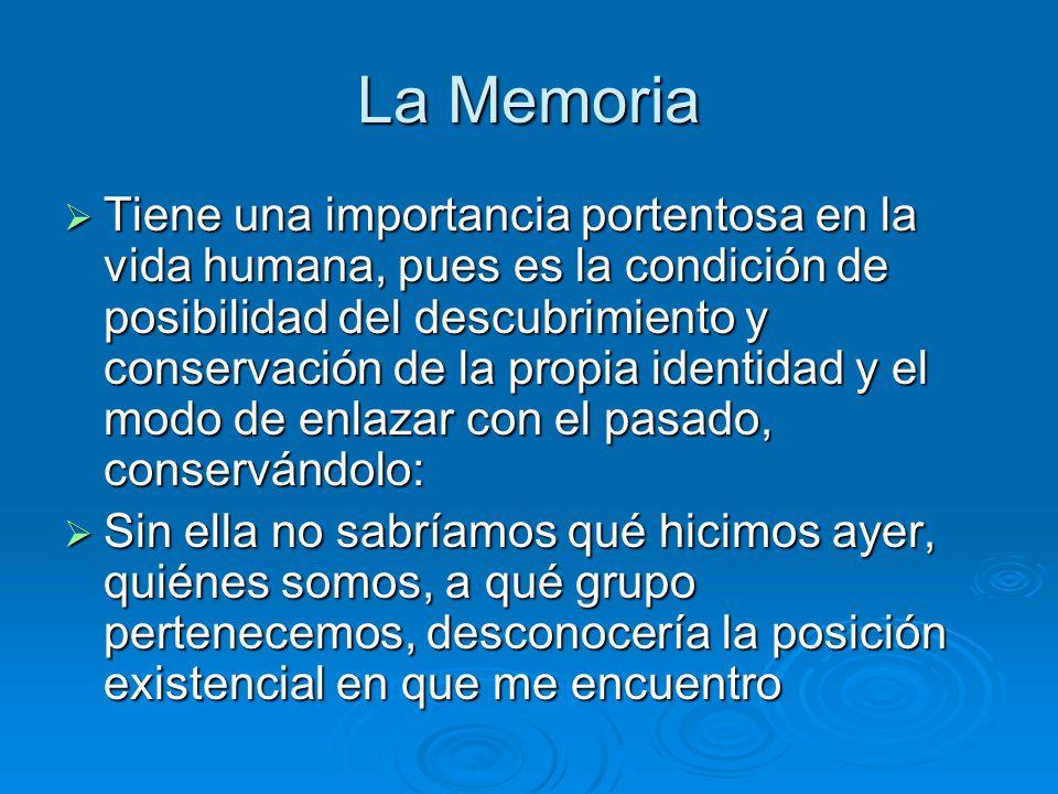 La Memoria Tiene una importancia portentosa en la vida humana, pues es la condición de posibilidad del descubrimiento y conservación de la propia iden