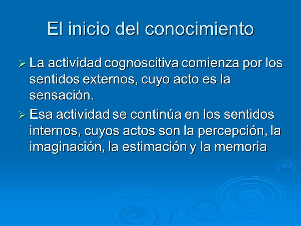 El inicio del conocimiento La actividad cognoscitiva comienza por los sentidos externos, cuyo acto es la sensación. La actividad cognoscitiva comienza