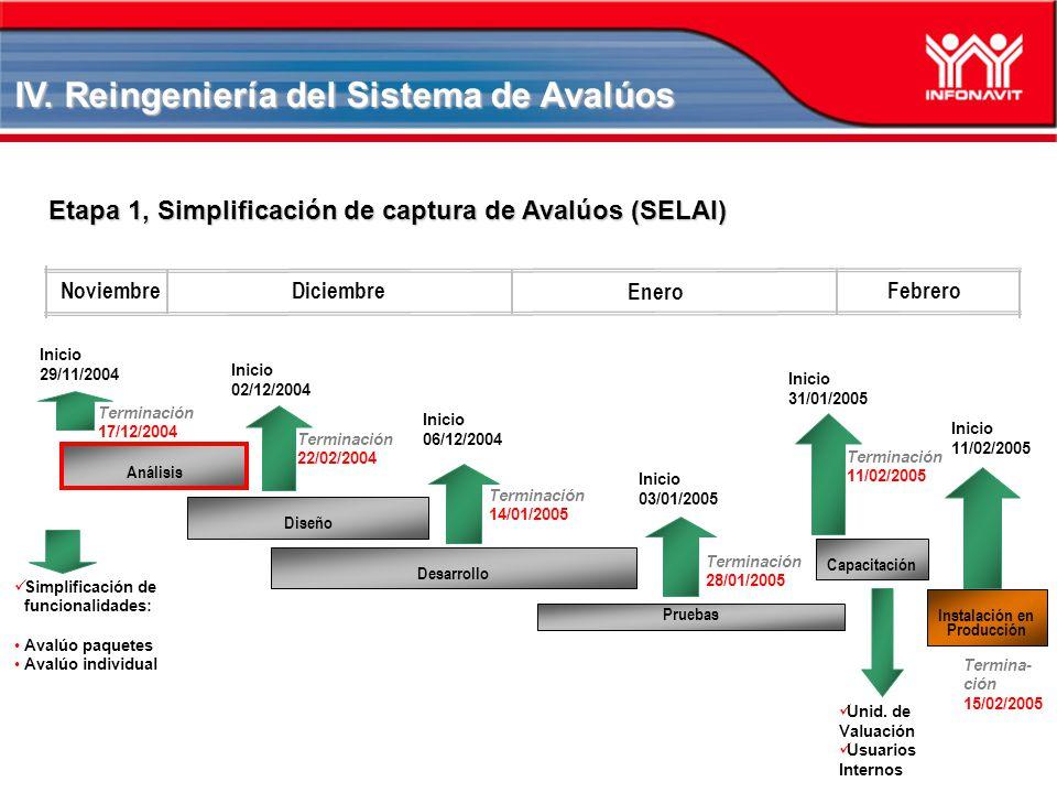 Diciembre Noviembre Análisis Simplificación de funcionalidades: Avalúo paquetes Avalúo individual Inicio 29/11/2004 Etapa 1, Simplificación de captura