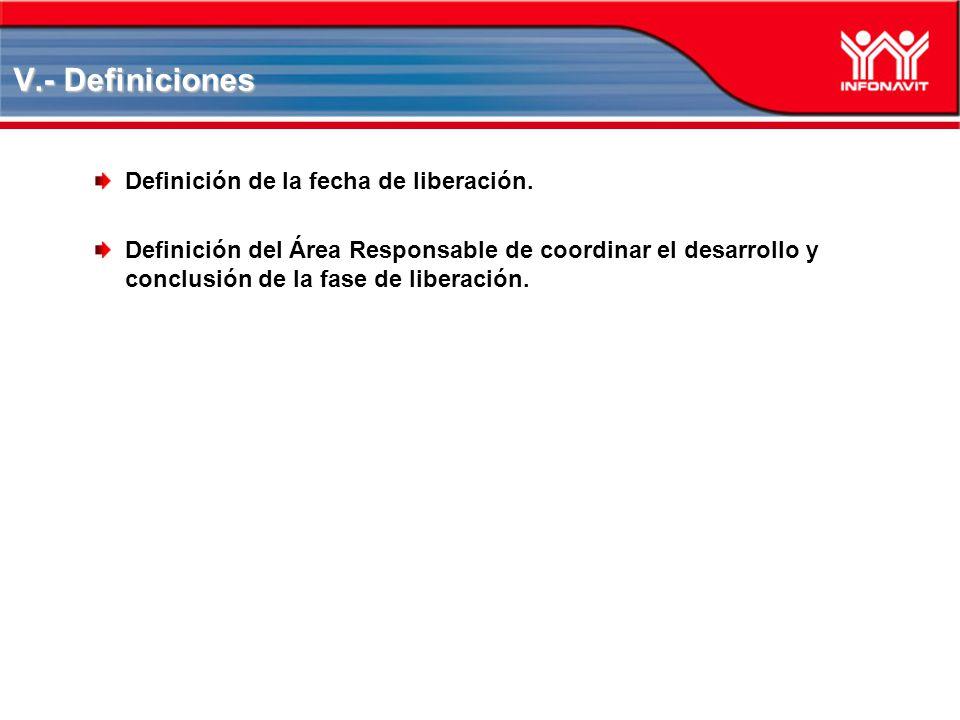 V.- Definiciones Definición de la fecha de liberación. Definición del Área Responsable de coordinar el desarrollo y conclusión de la fase de liberació