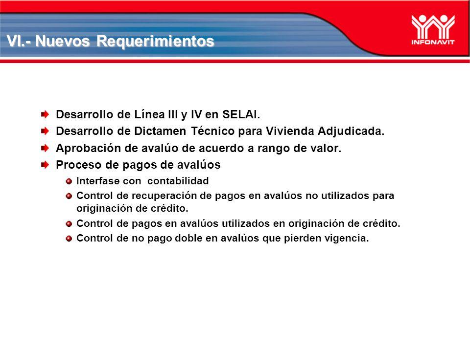 VI.- Nuevos Requerimientos Desarrollo de Línea III y IV en SELAI. Desarrollo de Dictamen Técnico para Vivienda Adjudicada. Aprobación de avalúo de acu