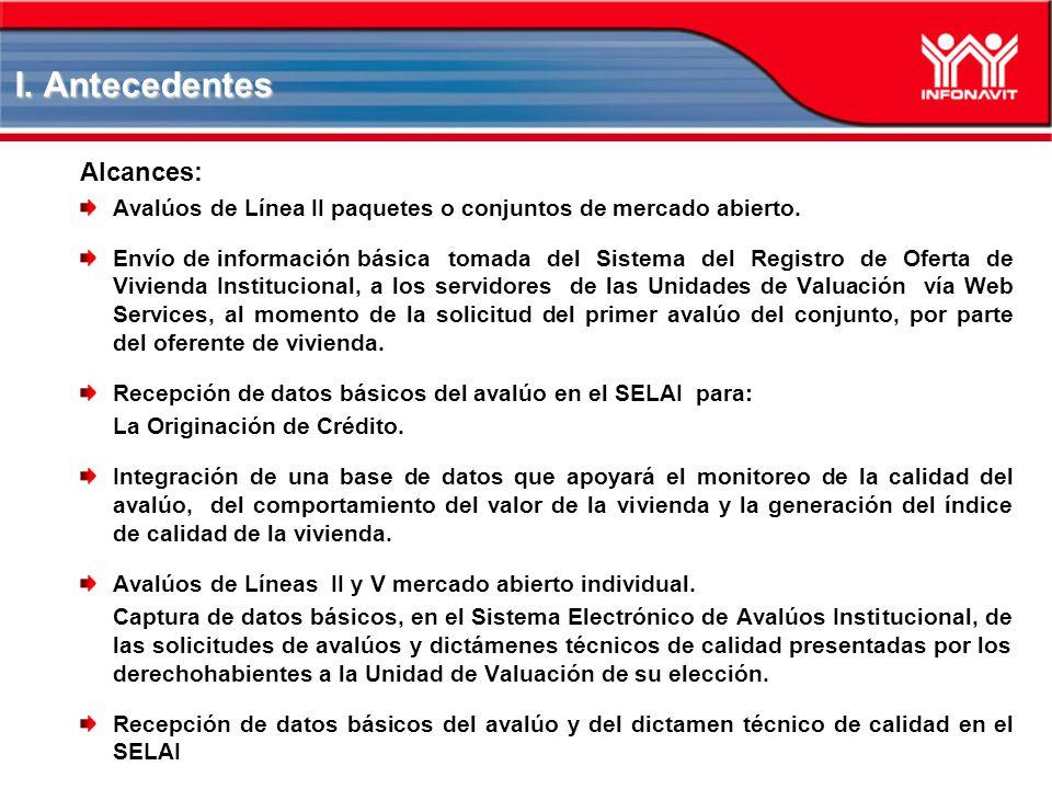 I. Antecedentes Alcances: Avalúos de Línea II paquetes o conjuntos de mercado abierto. Envío de información básica tomada del Sistema del Registro de