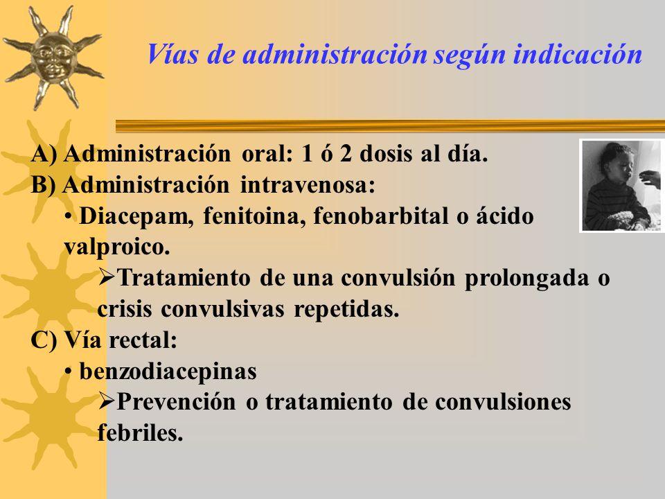 Vías de administración según indicación A) Administración oral: 1 ó 2 dosis al día. B) Administración intravenosa: Diacepam, fenitoina, fenobarbital o