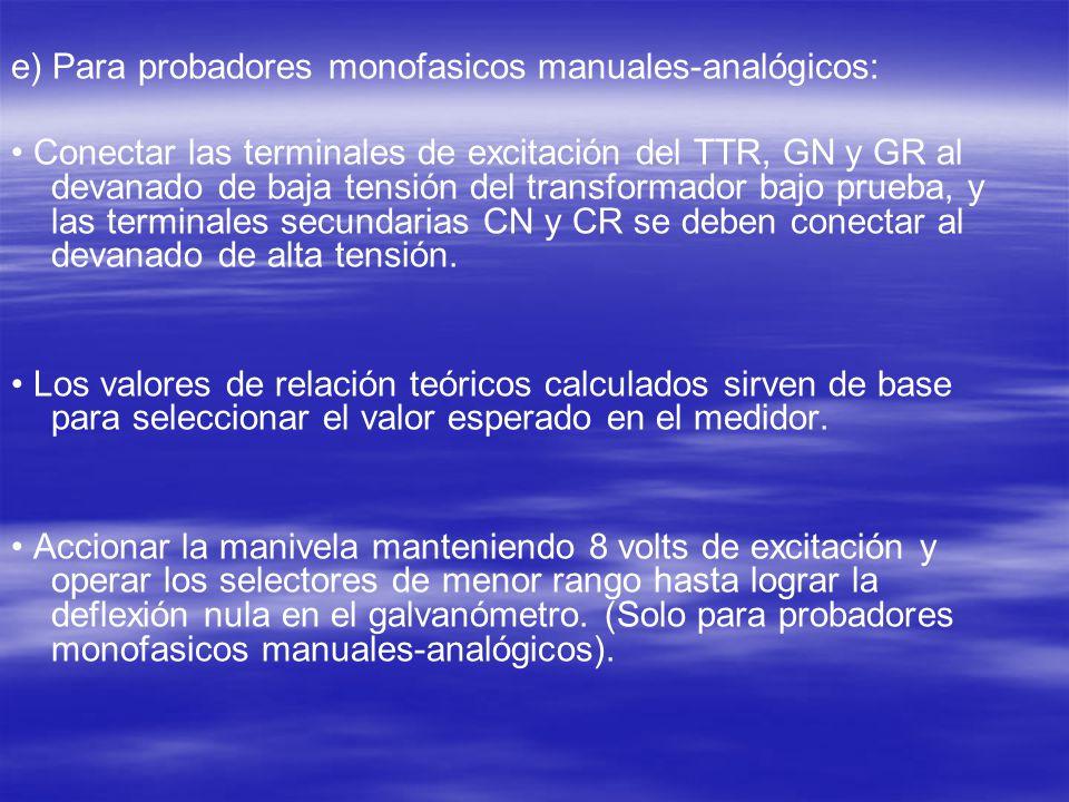 e) Para probadores monofasicos manuales-analógicos: Conectar las terminales de excitación del TTR, GN y GR al devanado de baja tensión del transformad