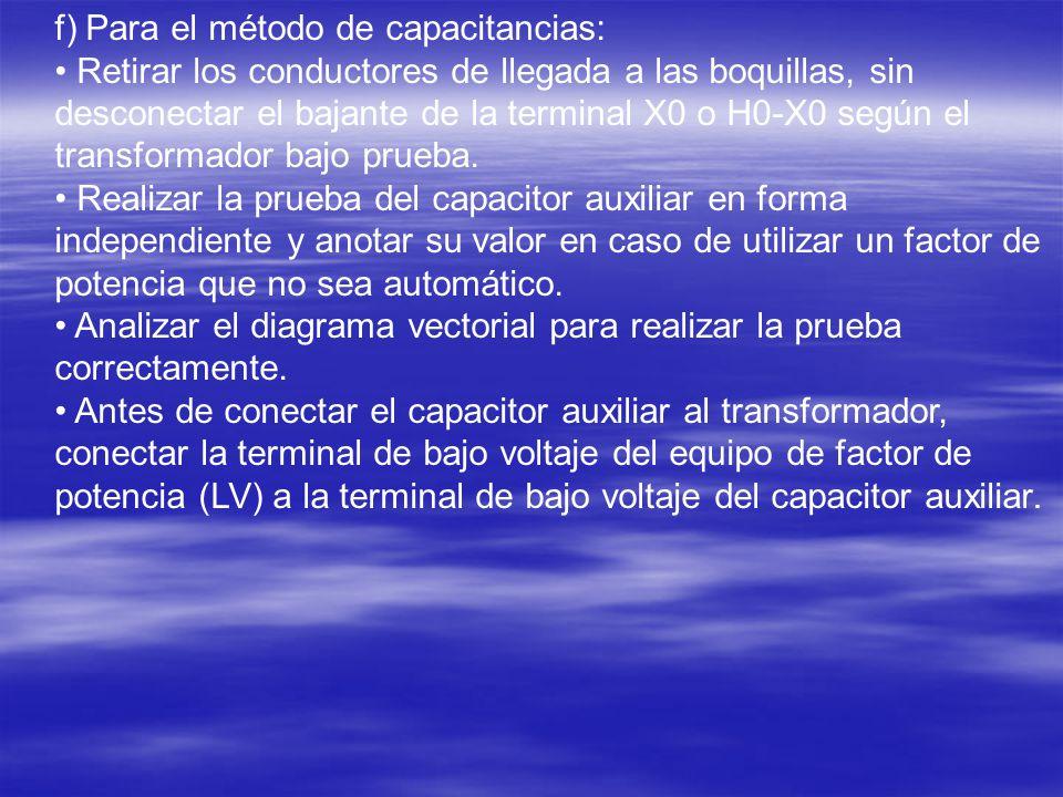f) Para el método de capacitancias: Retirar los conductores de llegada a las boquillas, sin desconectar el bajante de la terminal X0 o H0-X0 según el