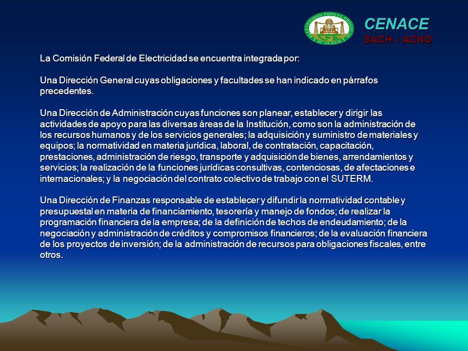 La Comisión Federal de Electricidad se encuentra integrada por: Una Dirección General cuyas obligaciones y facultades se han indicado en párrafos prec