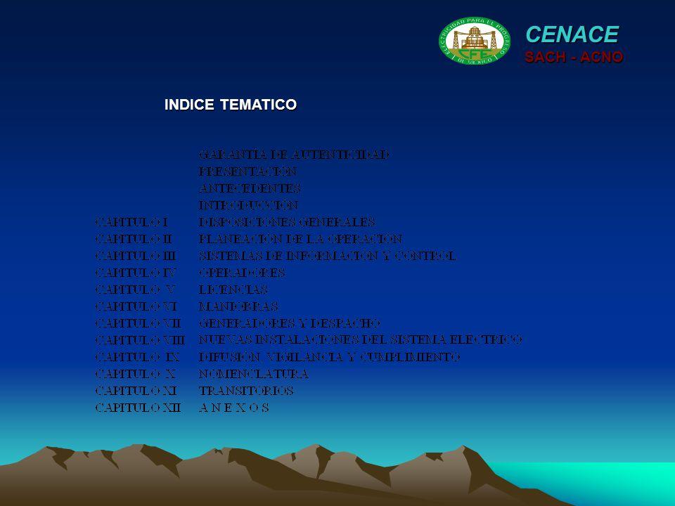 INDICE TEMATICO CENACE SACH - ACNO