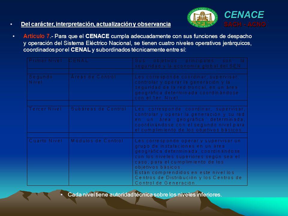 Artículo 7.- Para que el CENACE cumpla adecuadamente con sus funciones de despacho y operación del Sistema Eléctrico Nacional, se tienen cuatro nivele