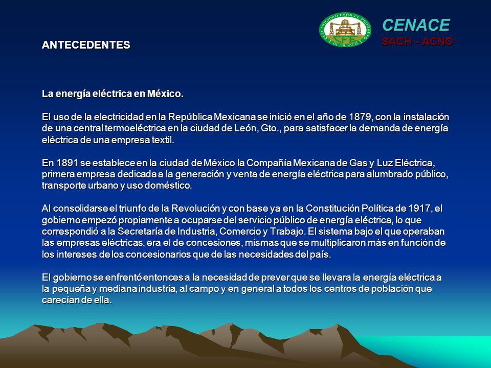 La energía eléctrica en México. El uso de la electricidad en la República Mexicana se inició en el año de 1879, con la instalación de una central term