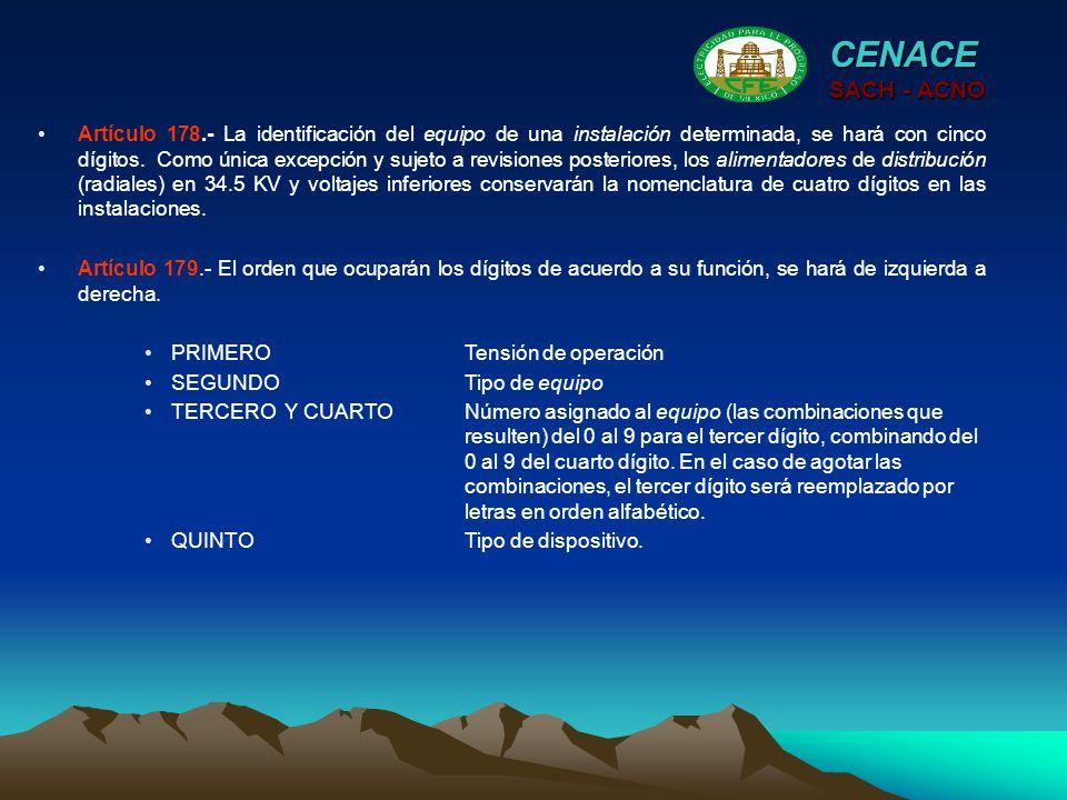 CENACE SACH - ACNO Artículo 178.- La identificación del equipo de una instalación determinada, se hará con cinco dígitos. Como única excepción y sujet