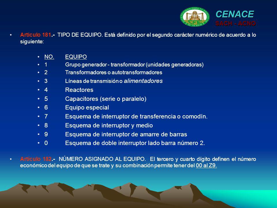 CENACE SACH - ACNO Articulo 181.- TIPO DE EQUIPO. Está definido por el segundo carácter numérico de acuerdo a lo siguiente: NO.EQUIPO 1Grupo generador