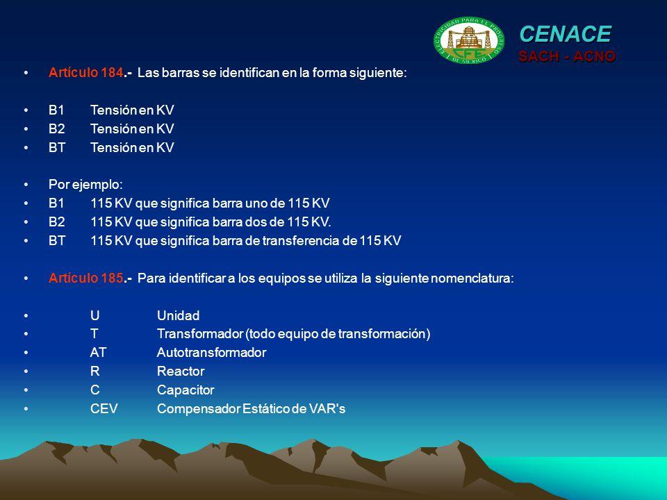 CENACE SACH - ACNO Artículo 184.- Las barras se identifican en la forma siguiente: B1Tensión en KV B2Tensión en KV BTTensión en KV Por ejemplo: B1115
