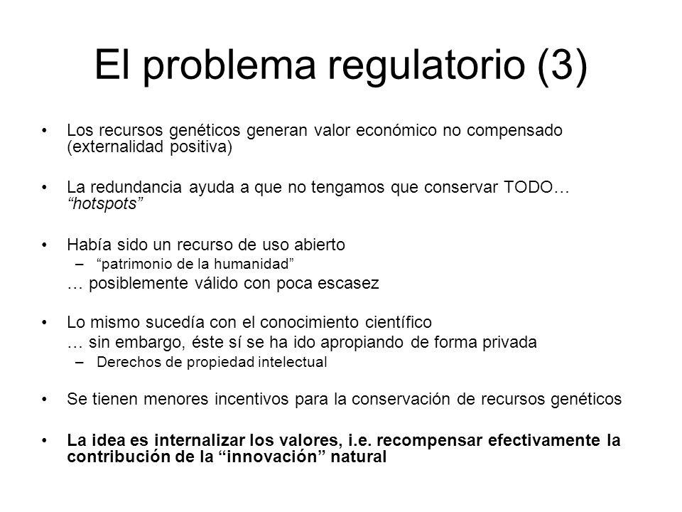 El problema regulatorio (3) Los recursos genéticos generan valor económico no compensado (externalidad positiva) La redundancia ayuda a que no tengamo
