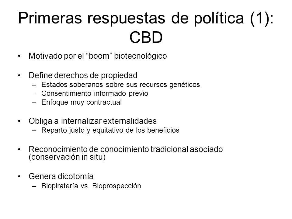 Primeras respuestas de política (1): CBD Motivado por el boom biotecnológico Define derechos de propiedad –Estados soberanos sobre sus recursos genéti