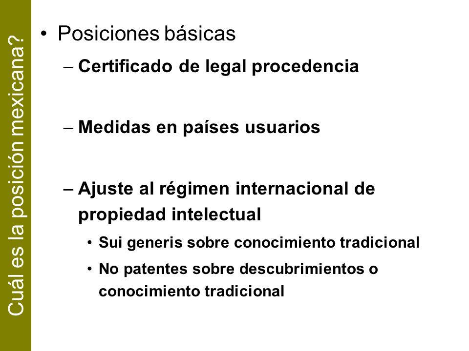 Posiciones básicas –Certificado de legal procedencia –Medidas en países usuarios –Ajuste al régimen internacional de propiedad intelectual Sui generis