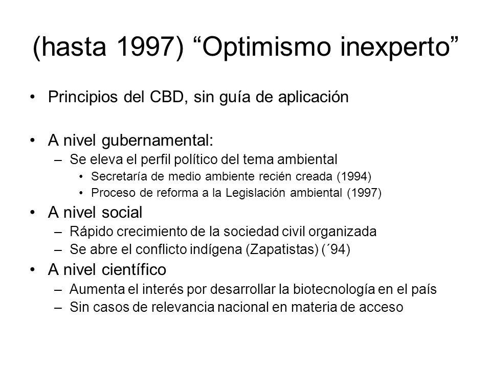 (hasta 1997) Optimismo inexperto Principios del CBD, sin guía de aplicación A nivel gubernamental: –Se eleva el perfil político del tema ambiental Sec