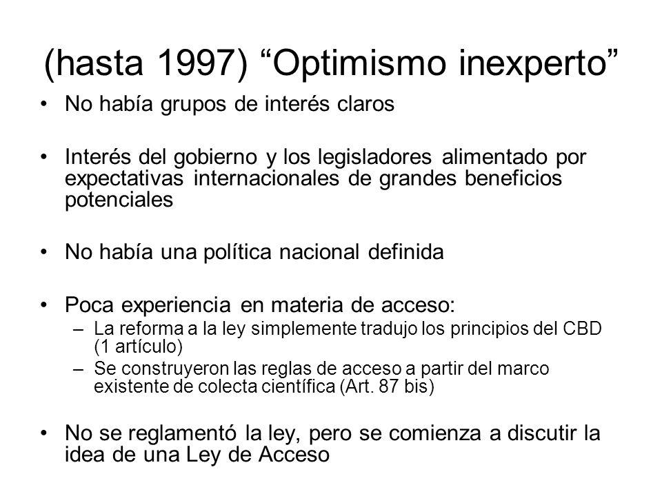 (hasta 1997) Optimismo inexperto No había grupos de interés claros Interés del gobierno y los legisladores alimentado por expectativas internacionales