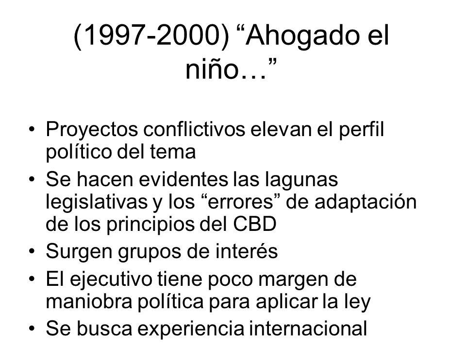 (1997-2000) Ahogado el niño… Proyectos conflictivos elevan el perfil político del tema Se hacen evidentes las lagunas legislativas y los errores de ad