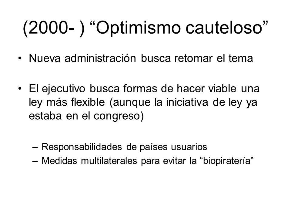 (2000- ) Optimismo cauteloso Nueva administración busca retomar el tema El ejecutivo busca formas de hacer viable una ley más flexible (aunque la inic