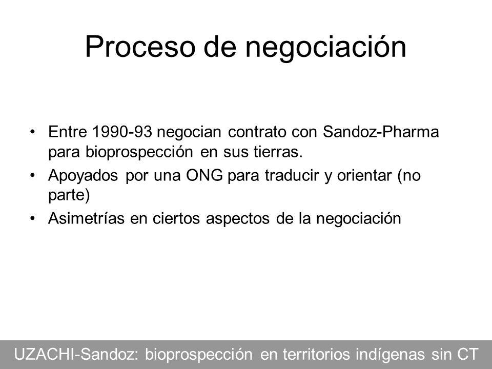 Proceso de negociación Entre 1990-93 negocian contrato con Sandoz-Pharma para bioprospección en sus tierras. Apoyados por una ONG para traducir y orie