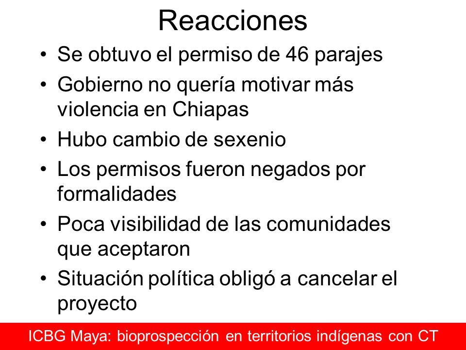 Reacciones Se obtuvo el permiso de 46 parajes Gobierno no quería motivar más violencia en Chiapas Hubo cambio de sexenio Los permisos fueron negados p