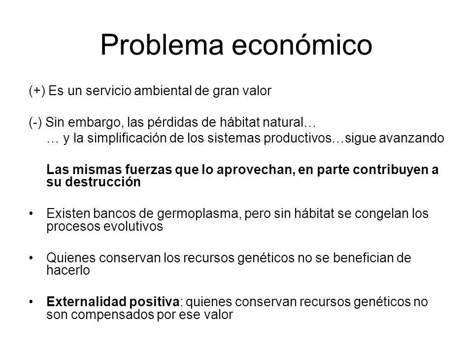 Problema económico (+) Es un servicio ambiental de gran valor (-) Sin embargo, las pérdidas de hábitat natural… … y la simplificación de los sistemas