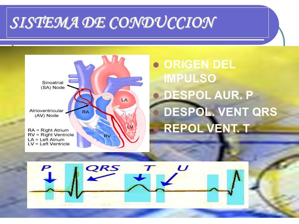 SISTEMA DE CONDUCCION ORIGEN DEL IMPULSO DESPOL AUR. P DESPOL. VENT QRS REPOL VENT. T