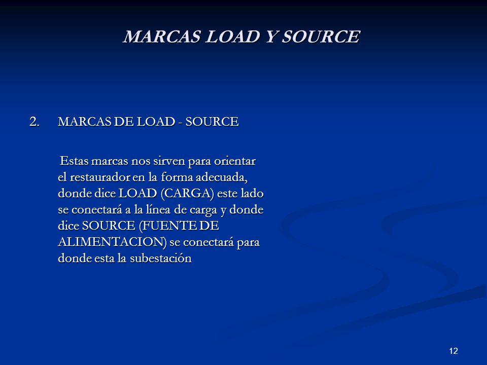 12 MARCAS LOAD Y SOURCE 2. MARCAS DE LOAD - SOURCE Estas marcas nos sirven para orientar el restaurador en la forma adecuada, donde dice LOAD (CARGA)