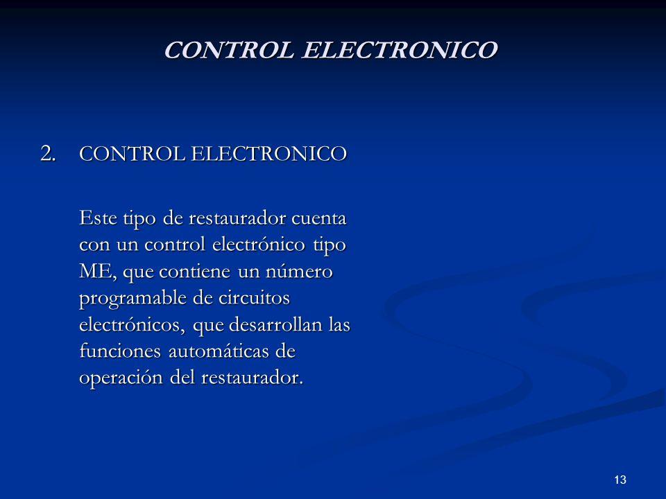 13 CONTROL ELECTRONICO 2. CONTROL ELECTRONICO Este tipo de restaurador cuenta con un control electrónico tipo ME, que contiene un número programable d