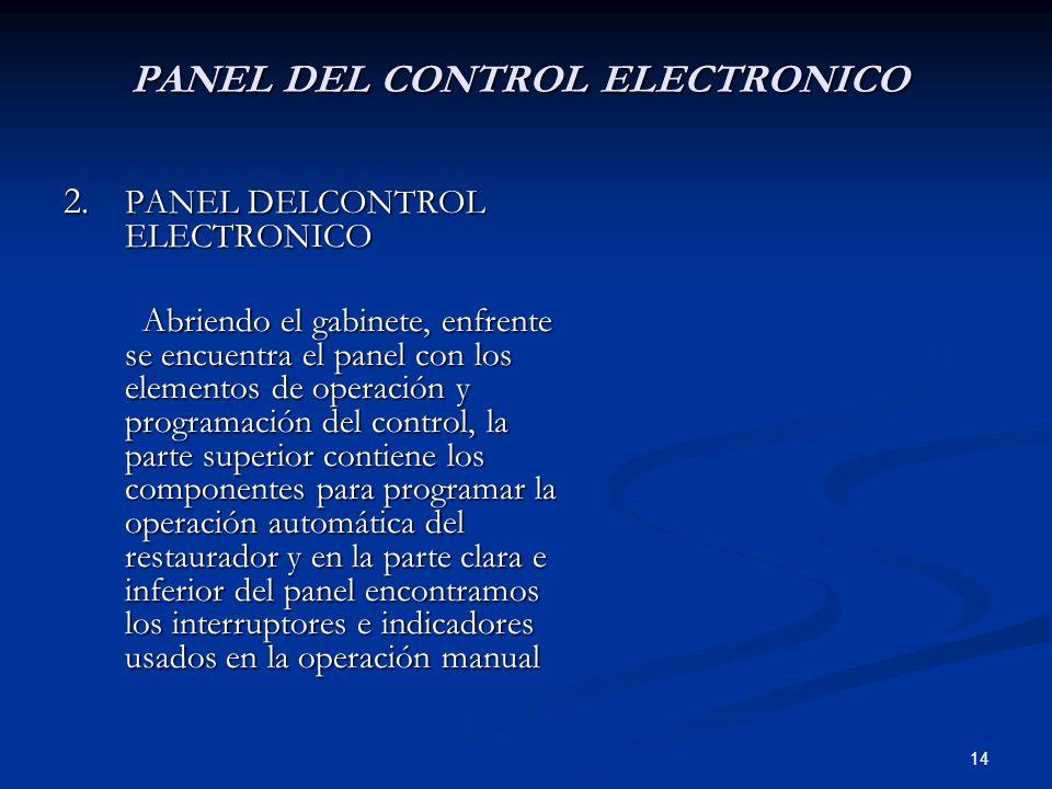 14 PANEL DEL CONTROL ELECTRONICO 2. PANEL DELCONTROL ELECTRONICO Abriendo el gabinete, enfrente se encuentra el panel con los elementos de operación y