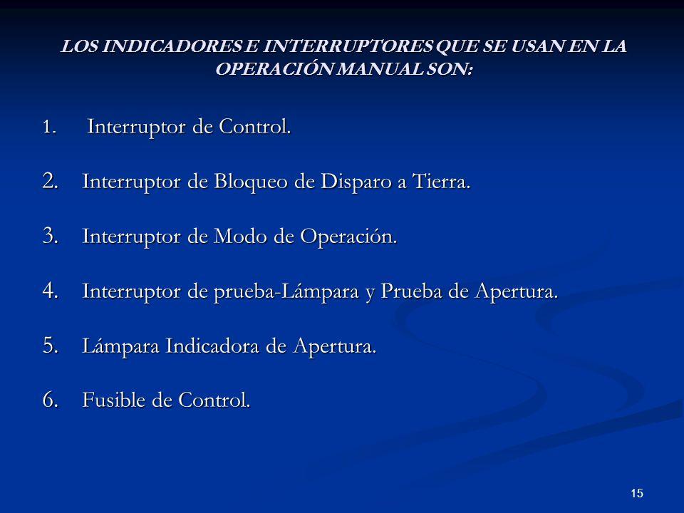15 LOS INDICADORES E INTERRUPTORES QUE SE USAN EN LA OPERACIÓN MANUAL SON: 1. Interruptor de Control. 2. Interruptor de Bloqueo de Disparo a Tierra. 3