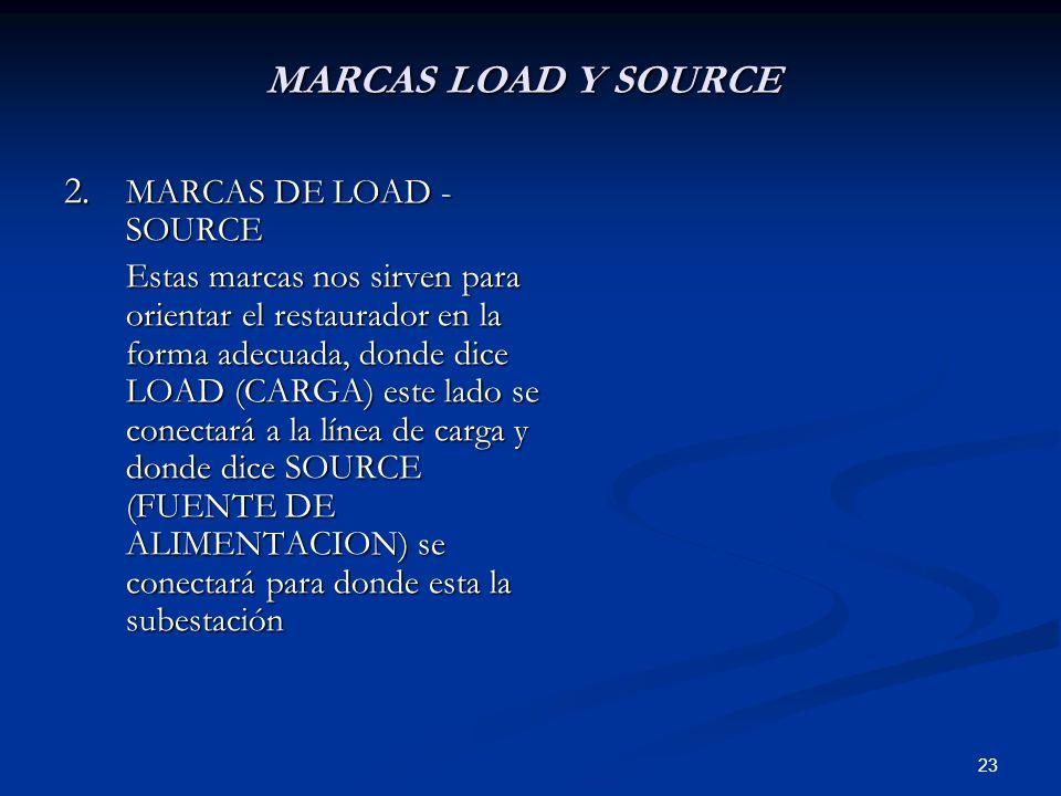 23 MARCAS LOAD Y SOURCE 2. MARCAS DE LOAD - SOURCE Estas marcas nos sirven para orientar el restaurador en la forma adecuada, donde dice LOAD (CARGA)