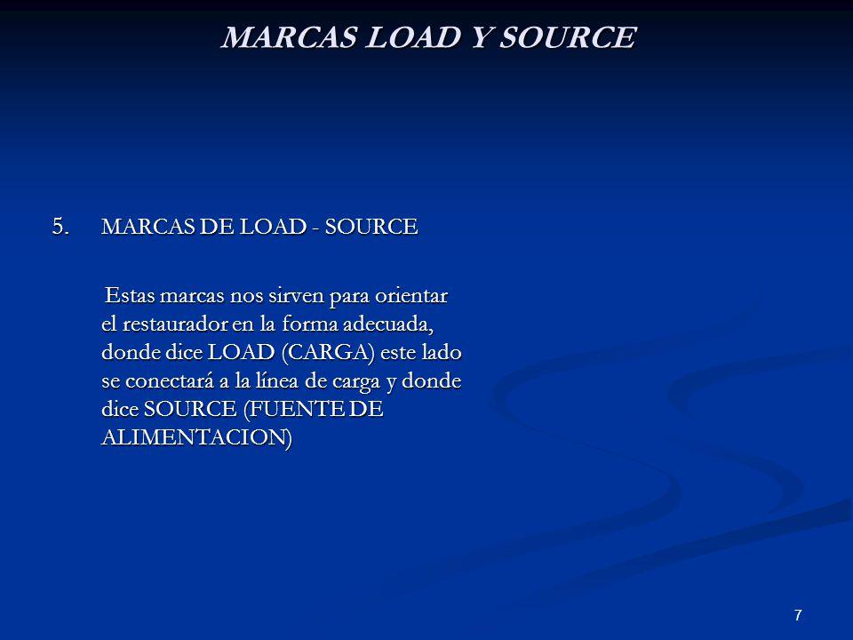 7 MARCAS LOAD Y SOURCE 5. MARCAS DE LOAD - SOURCE Estas marcas nos sirven para orientar el restaurador en la forma adecuada, donde dice LOAD (CARGA) e